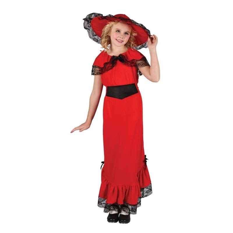 Girls Victorian Lady Victorian Outfit - (Red)