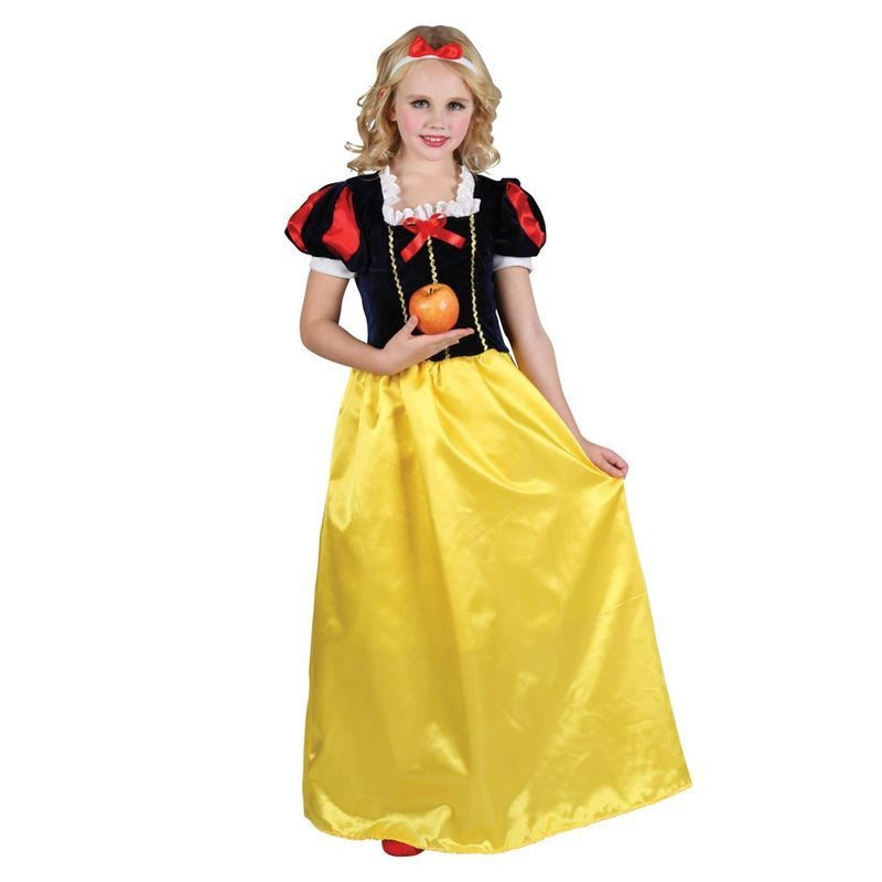 Girls Deluxe Snow Princess Fairy Tales Outfit - (Black, Gold)