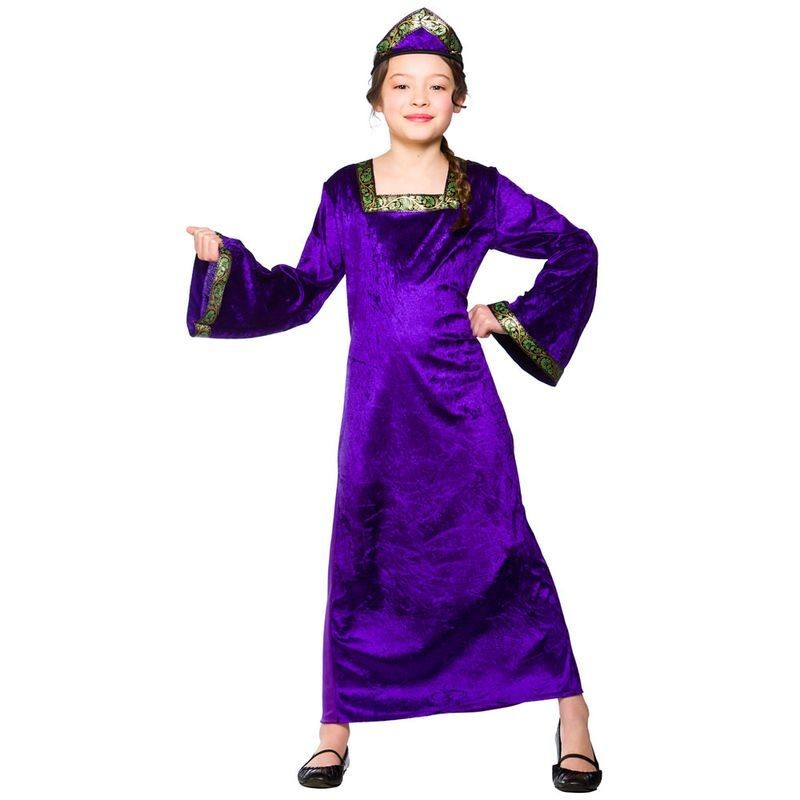 Girls Medieval Princess - Purple Medieval Outfit - (Purple)