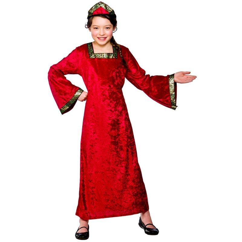 Girls Medieval Princess - Red Medieval Outfit - (Red)