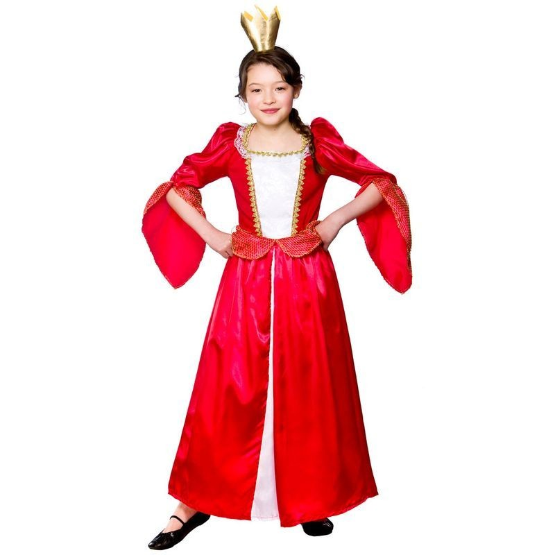 Girls Royal Medieval Queen Royal Outfit - (Red)