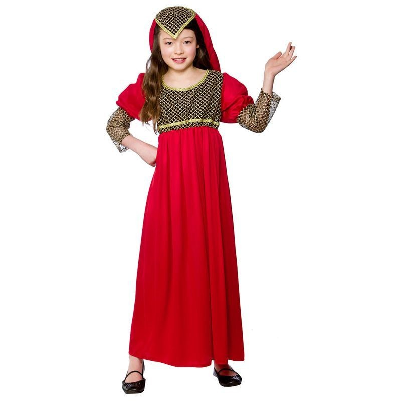 Girls Princess Juliet Medieval Outfit - (Red)