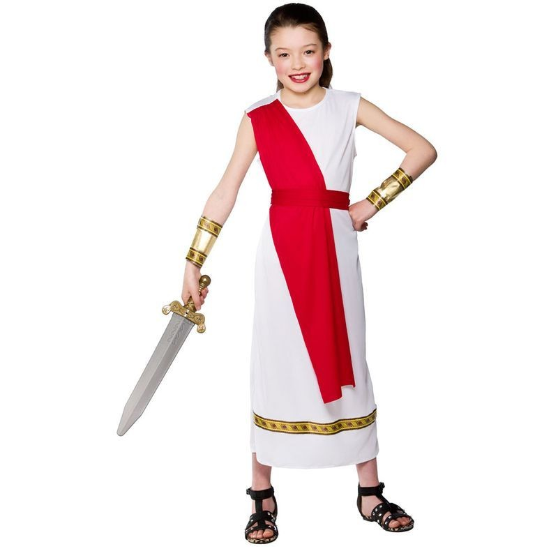 Girls Ancient Roman Girl Roman Outfit - (White)