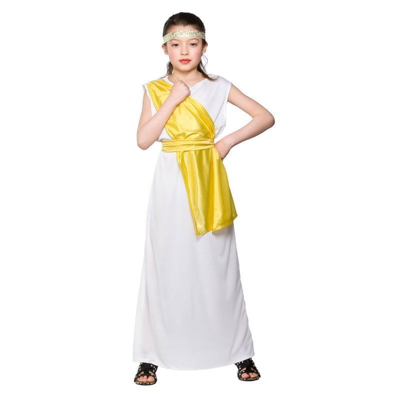 Girls Ancient Greek Girl Greek Outfit - (White)