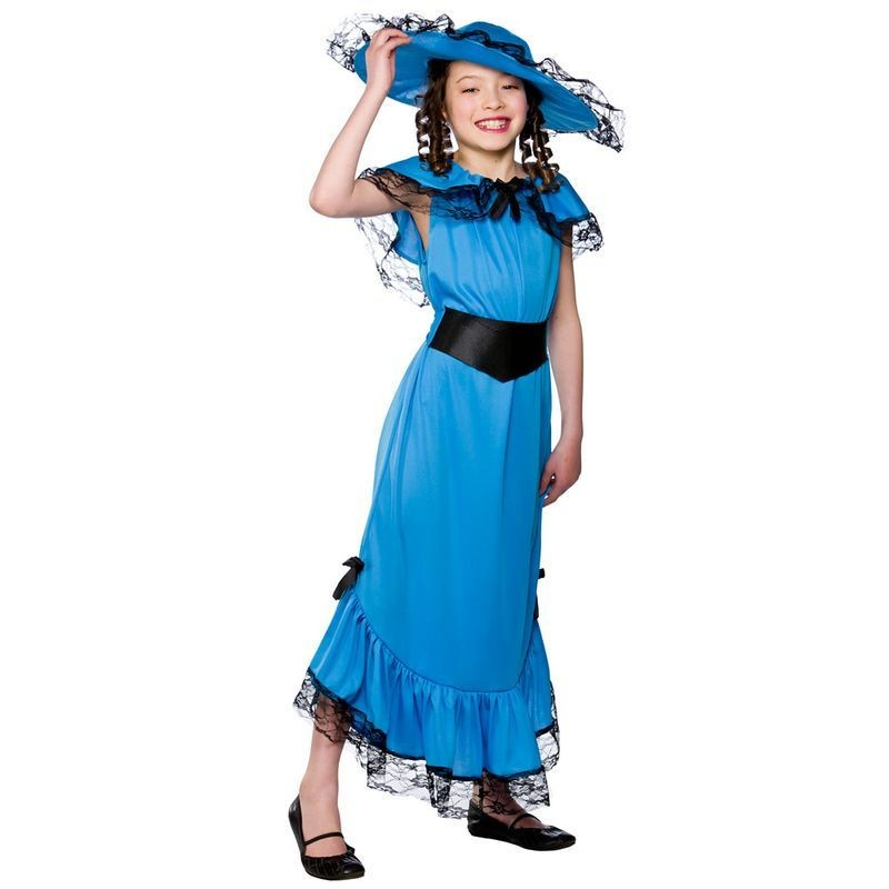 Girls Victorian Lady Victorian Outfit - (Blue)