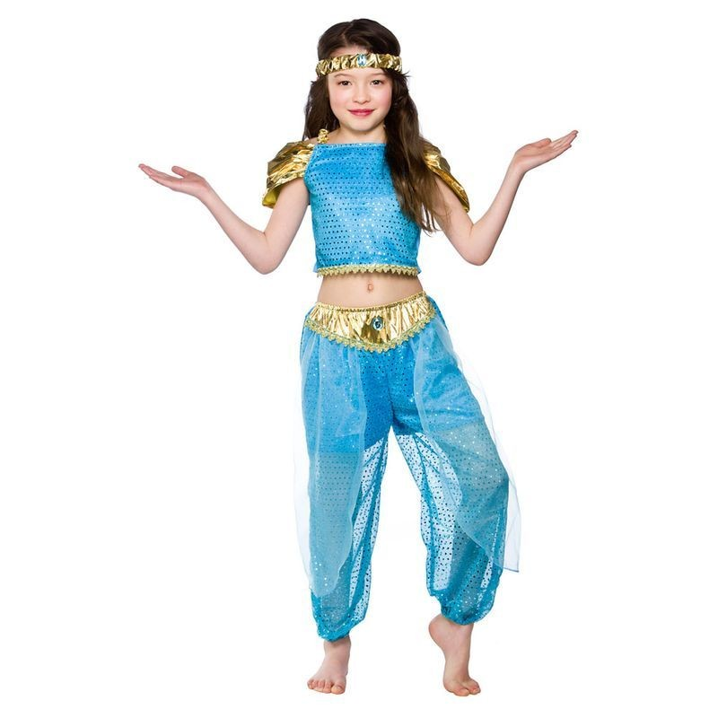 Girls Arabian Princess Arab Outfit - (Turquoise, Blue)