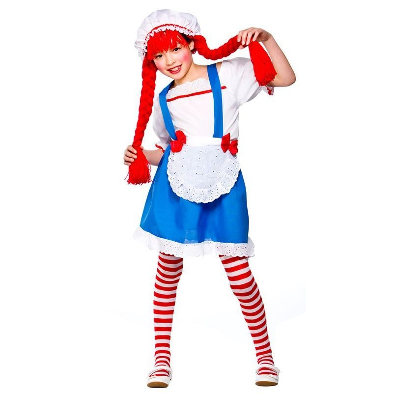 Girls Little Rag Doll Fairy Tales Outfit - (Blue, White, Red)