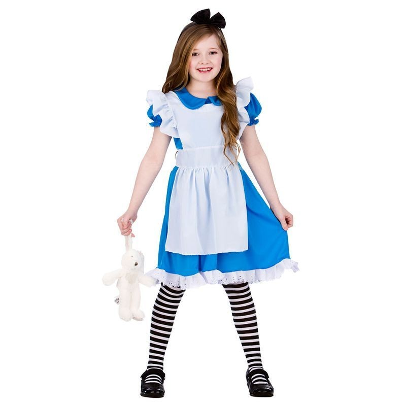 Girls Blue/White Classic Storybook Alice Fancy Dress Costume