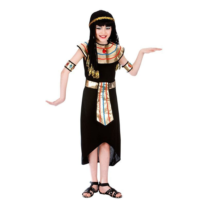 Girls Black/Gold Egyptian Nile Queen Cleopatra Fancy Dress Costume