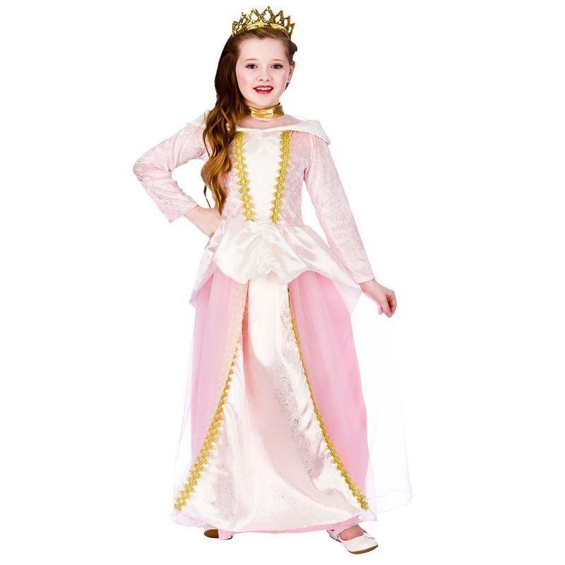 Girls Pink Fantasy Fairytale Princess Fancy Dress Costume