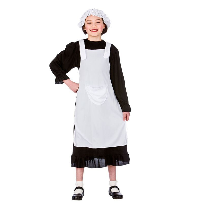 Girls Black/White Poor Victorian Maid Fancy Dress Costume