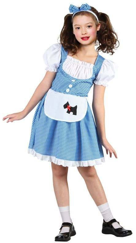 Girls Blue/White Oz Dorothy Counrty Girl Story Book Fancy Dress Costume