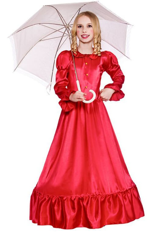 Girls Red Deluxe Victorian Lady Fancy Dress Costume