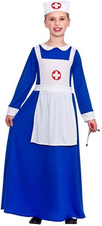 Girls Blue Wartime Nurse Fancy Dress Costume