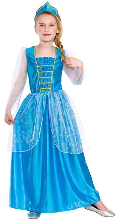 Girls Ice Blue Frozen Princess Fancy Dress Costume
