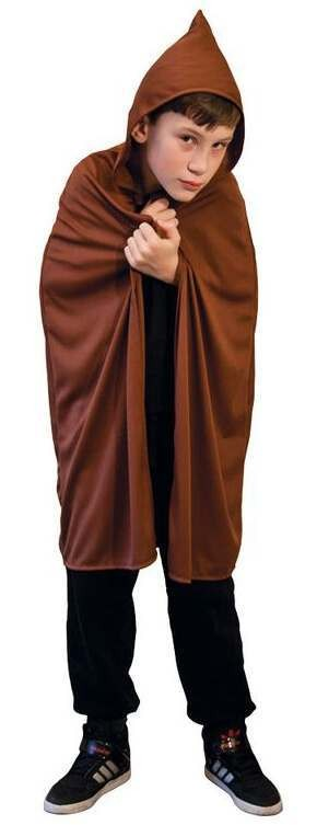Kids Brown Hooded Medieval/Monk Cape (One Size) Fancy Dress Costume