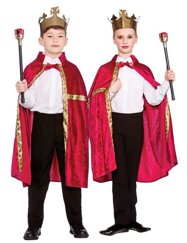 Childs Deluxe Burgundy King/Queen Robe & Crown Fancy Dress Costume