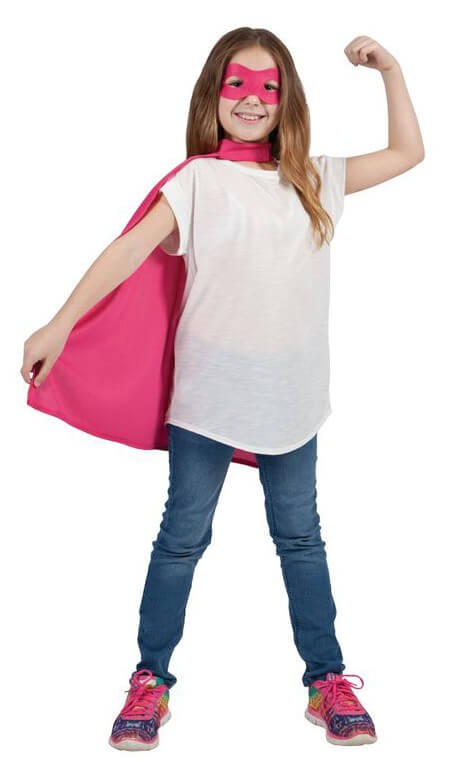 Childs Pink Super Hero Cape & Mask Fancy Dress Costume