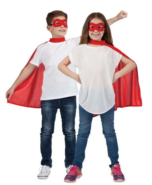 Childs Red Super Hero Cape & Mask Fancy Dress Costume