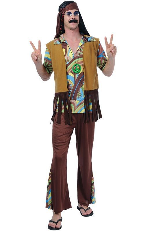 Groovy Hippie Guy Fancy Dress Costume Mens (1960S)