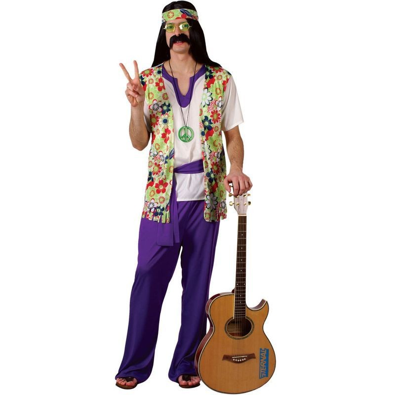 """Peace Man"" Hippie Fancy Dress Costume Mens (1960S)"
