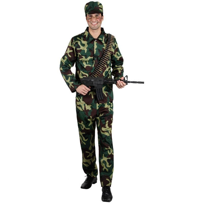 Mens Army Soldier Costume Fancy Dress (Army)