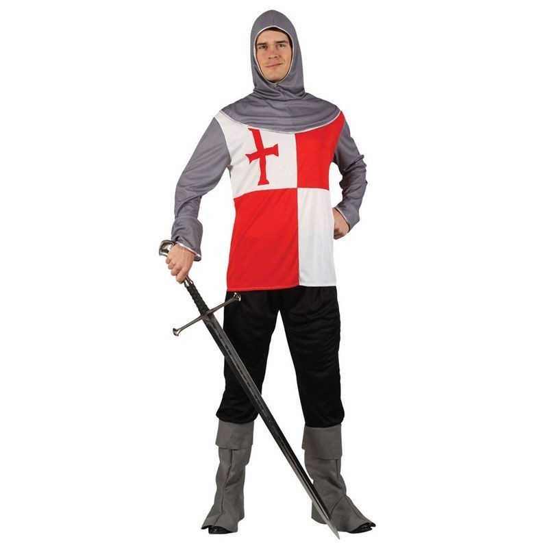 Mens Crusader Knight Medieval Outfit (Red,White)