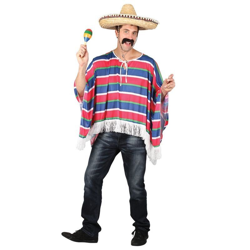 Mens Mexican Poncho Mexican Outfit - One Size (Multicolour)