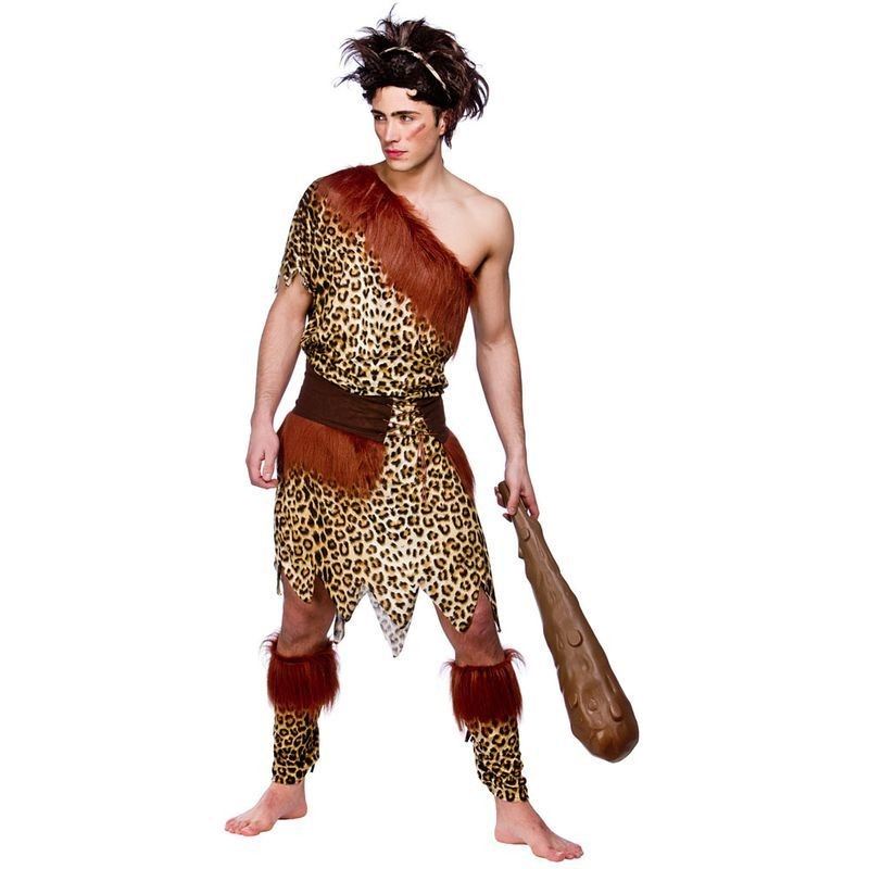 Mens Stoneage Caveman Cavemen Outfit (Animal Print)