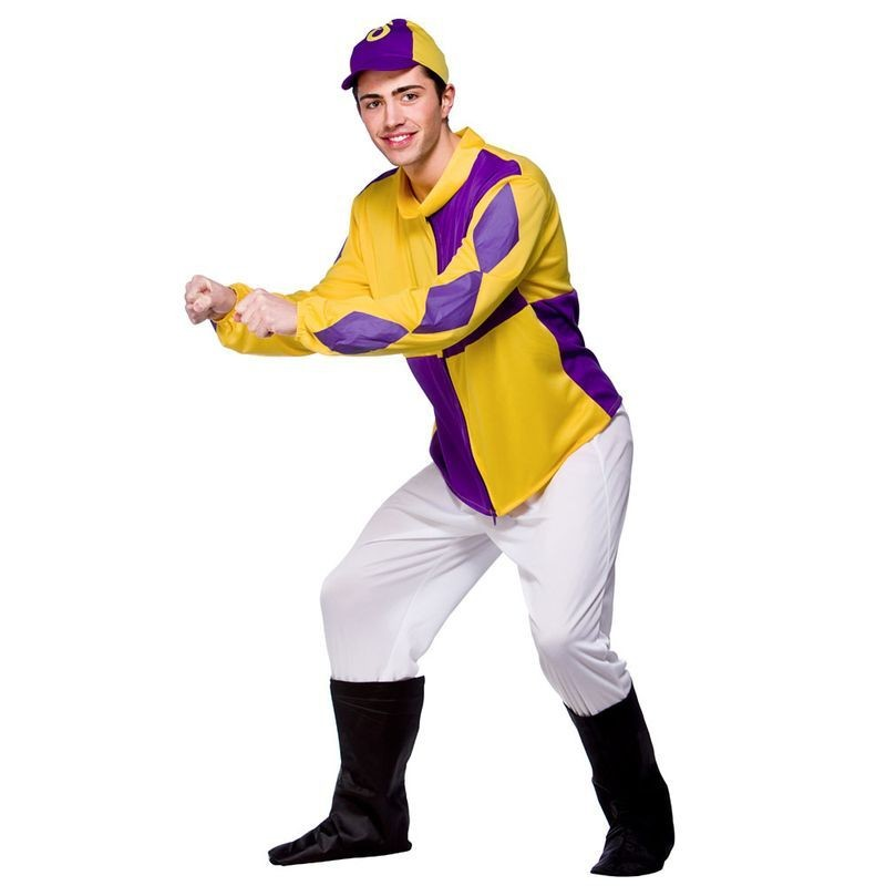 Mens National Jockey Sport Outfit (Yellow, Purple)