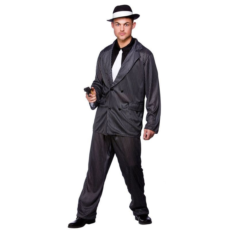 Mens Gangster Guy Cops/Robbers Outfit (Grey)
