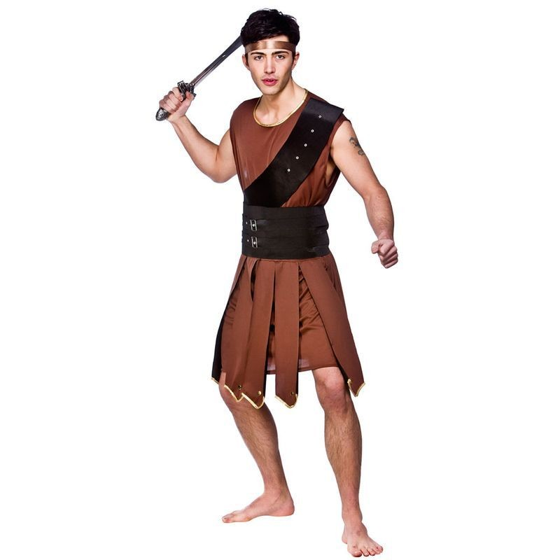 Mens Sparticus Gladiator Roman Outfit (Brown)