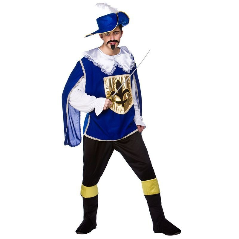 Mens Musketeer - Blue Musketeer Outfit (Blue, White)