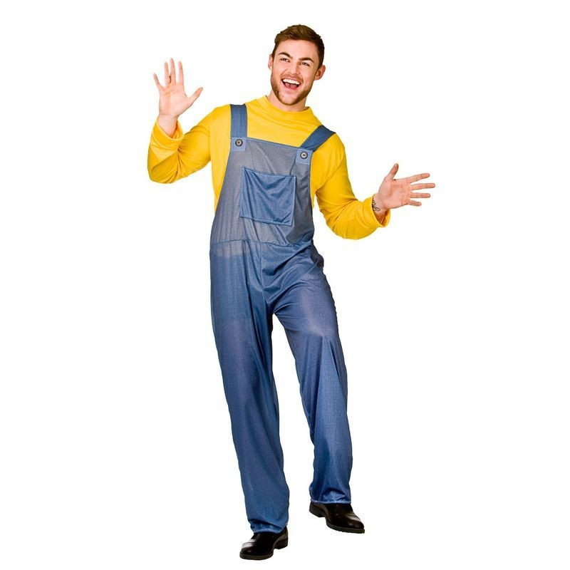 Mens Blue/Yellow Mischevious Minion Style Worker Fancy Dress Costume