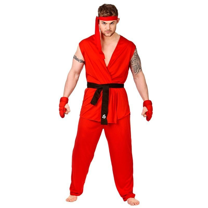 Mens Red Kung Fu Martial Arts Fighter Fancy Dress Costume