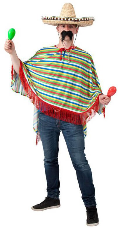 Adults Multi Colour Mexican Poncho Fancy Dress Costume