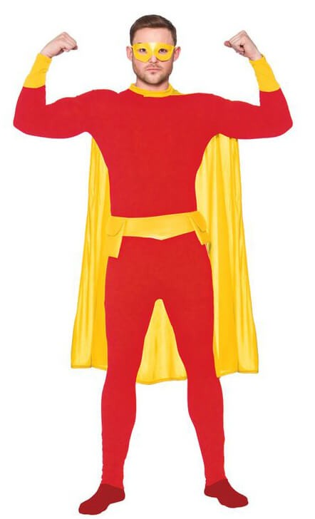 Mens Red & Yellow Super Hero Fancy Dress Costume