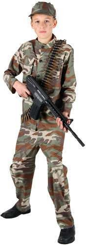 Mens Action Commando Costume Fancy Dress (Army)