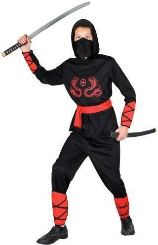 Mens Ninja Warrior Costume Fancy Dress (Ninja)