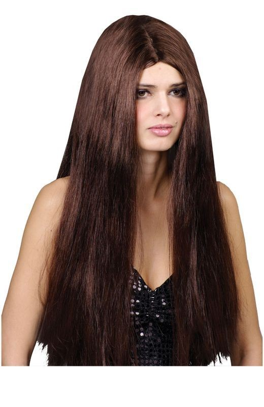 Classic Long Brown Wig - Fancy Dress Ladies