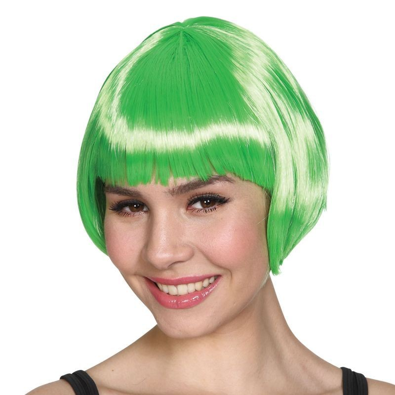 Ladies Short Bob Wig - Green Wigs - (Green)