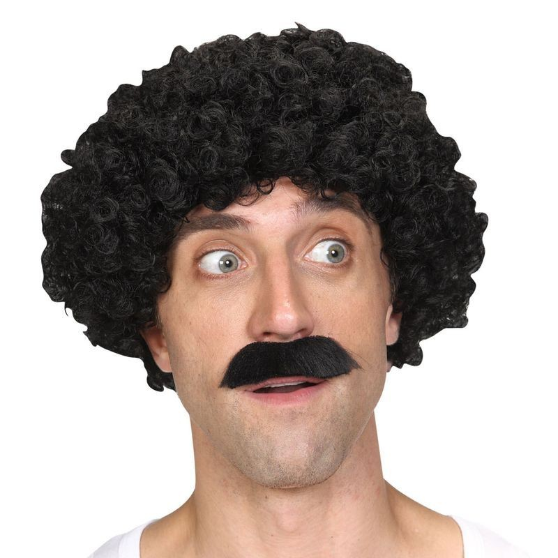 Mens Shifty Guy Wig & Tash Wigs - (Black)