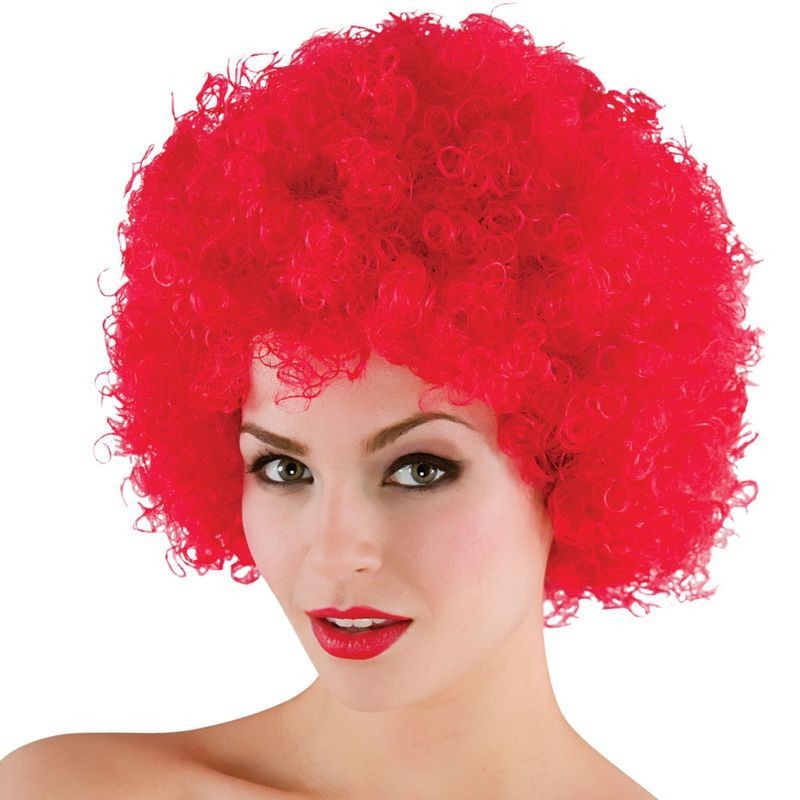 Mens Funky Afro - Red 120Gm Wigs - (Red)