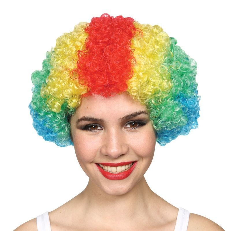 Mens Funky Clown Afro - Multi Colour 120Gm Wigs - (Multicolour)