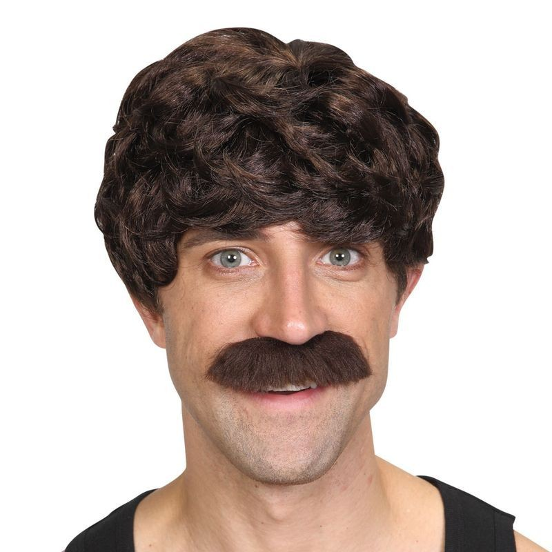 Mens 70'S Cool Dude - Brown Wigs - (Brown)