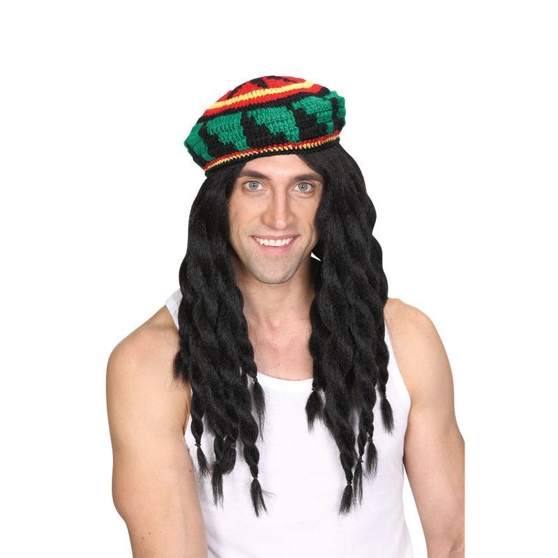 Mens Deluxe Knitted Rasta Hat & Wig Wigs - (Black)