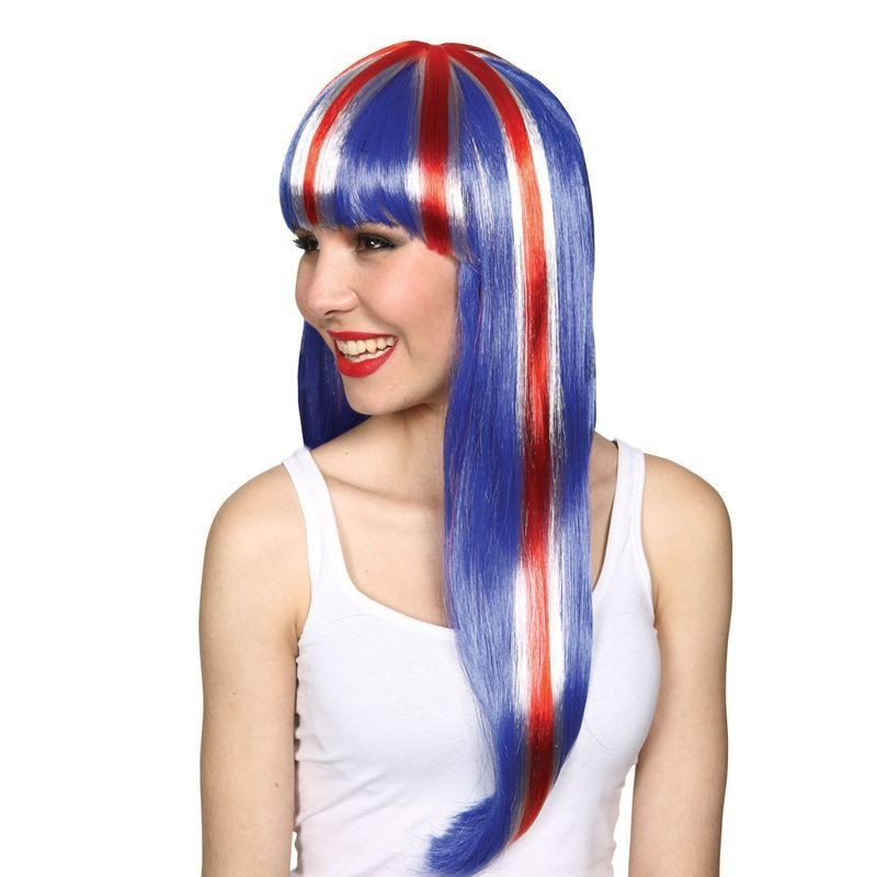Ladies G.B Fan Wig Long Wigs - (Red, White, Blue)