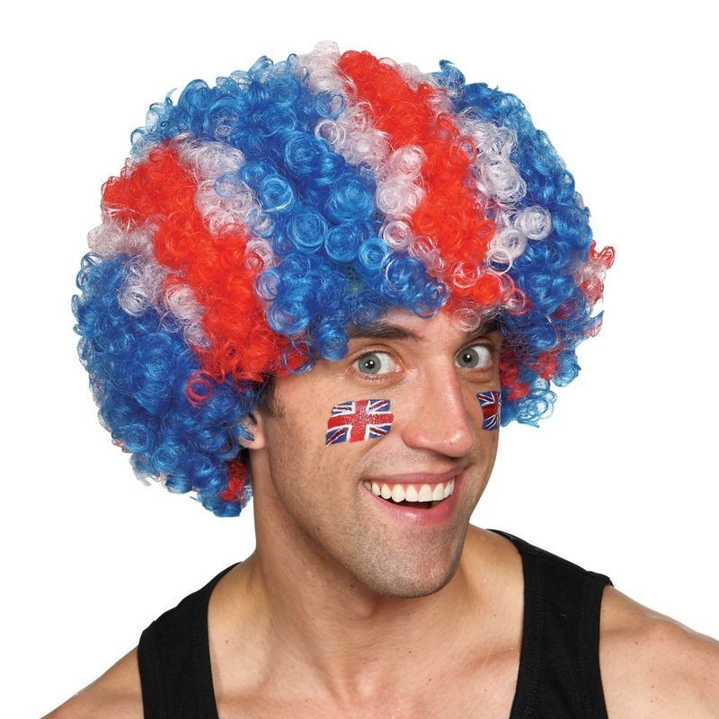 Mens G.B Jumbo Deluxe Afro Wigs - (Red, White, Blue)