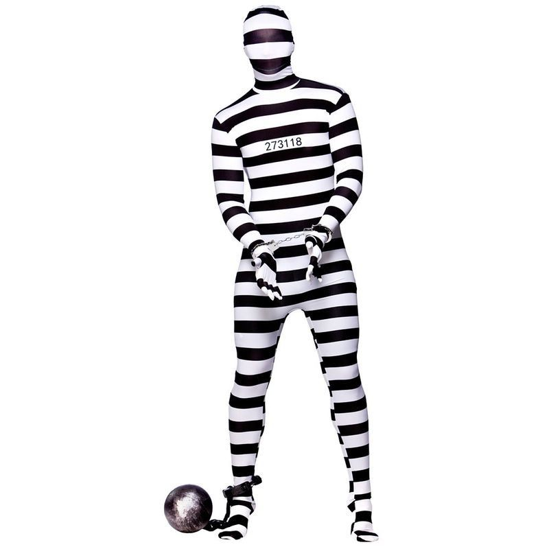 Mens Convict Skin Cops/Robbers Outfit (Black, White)