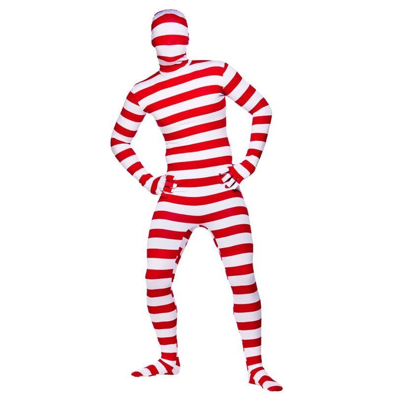 Mens Red & White Striped Skinz Cops/Robbers Outfit (Red,White)